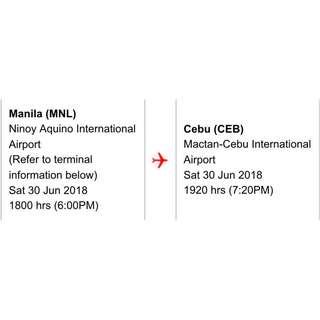One Way Manila to Cebu for 2 Male Passengers