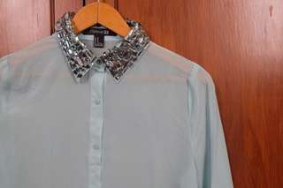 Polo with Embellished Collar
