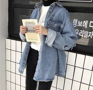 Distressed denim shirt-jacket