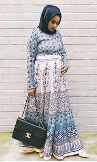 Gypsy Boho Blue Print Maxi Dress