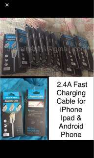 🔵2.4A Fast Charging magnetic Cable for iPhone, iPad & android phone  Price: $18.00