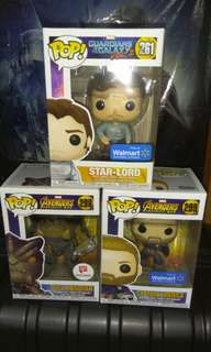 (ON HAND) Star-Lord, Cull Obsidian & Captain America Marvel Funko Pop Bundle