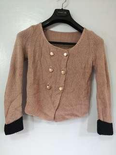 Knitted old rose blazer jacket