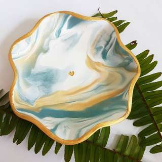 Scalloped Blue Gold Marble | Polymer Clay Jewelry Dish