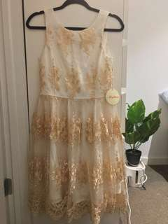 Beautiful NEW with tags embroidered champagne/gold and cream event dress (US size S, fits AU8/10)