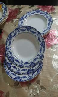 Vintage/Antique Plates Blue Decorative Flowers