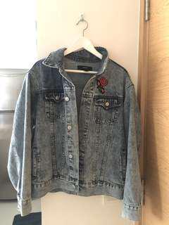 F21 oversized embroidered denim Jacket