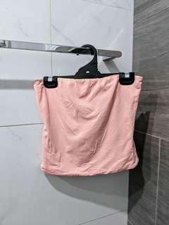 Salmon pink strapless top