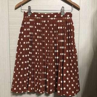 🚚 Vintage 日本古著 全新未穿 質感 日本製 圓點 咖色 百褶裙