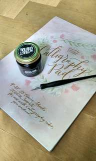 Craft Central calligraphy pen, ink and pad paper