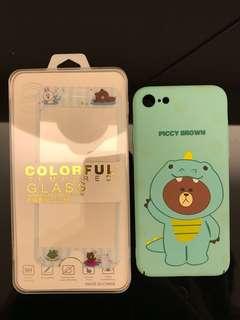 Line 熊大iPhone7/8 夜光硬殻及保護貼