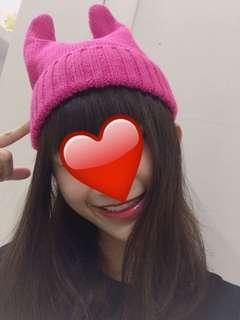 🚚 粉色小惡魔角毛帽