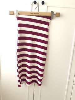橫間直身裙 striped pencil skirt