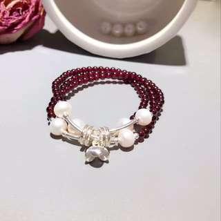 天然石榴石+天然淡水珍珠配s925銀手鏈