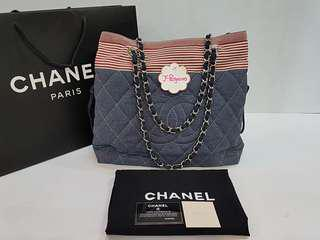 Authentic Chanel Jersey Quilted Large Shopping Tote Bag SHW {{ Only For Sale }} ** No Trade ** {{ Fixed Price Non-Neg }} ** 定价 **