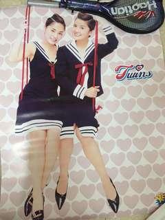 Twins, Shine, 楊千嬅,鍾欣桐海報 高約107cm 闊約82cm