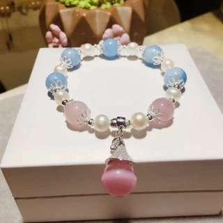 天然海藍寶+天然淡水珍珠+馬粉+粉貓眼魔法帽吊墜手鏈