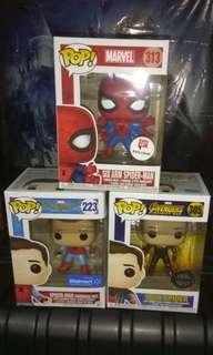 (ON HAND) Spider-Man 6 Arms, Spider-Man Homemade Suit & Iron Spider Unmasked Marvel Funko Pop Bundle