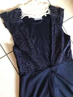 Zalora navy backless dress