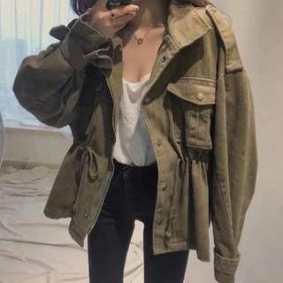 🚚 韓版復古女裝軍裝中長款風衣收腰外套