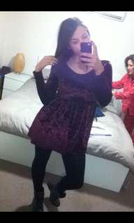 2x Velvet Dresses (Black & Maroon)