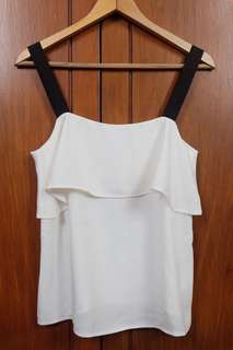 White Sleveless Top with Black Straps
