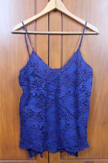 Blue Lace Sleveless Top