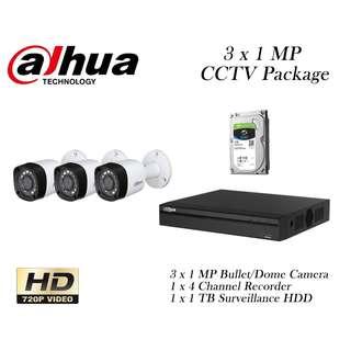 Dahua 3 x 1 Megapixels CCTV Package