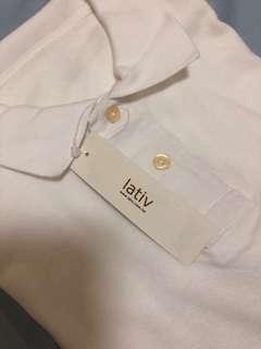 🚚 白色 lativ 短袖polo 衫 全新