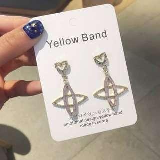 💌-鑲鑽 透明水晶 幾何 愛心 耳環  🍬韓國製🍬