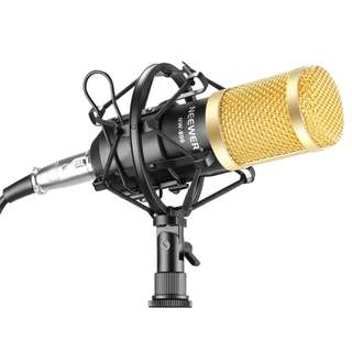 Neewer NW-800 Professional Studio Broadcasting & Recording Microphone Set Including (1)NW-800 Professional Condenser Microphone + (1)Microphone Shock Mount + (1)Ball-type Anti-wind Foam Cap + (1)Microphone Power Cable (Black) -- 804
