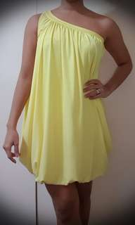 Karimadon Women's Asymmetrical Bubble Cocktail Dress (Yellow)