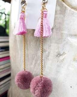 Pom Pom Tassle Earrings