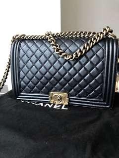 CHANEL Boy Chanel New Medium in Black (Lambskin) with Gold Hardware