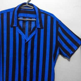 Rare Vintage Blue Black Stripes Buttondown Polo