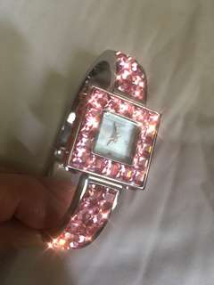 ICRYSTAL New York Bangle Watch 粉紅色水晶手錶 bling bling 女裝手錶 名牌