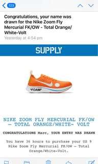 Nike Zoom Fly Mercurial Flyknit Off-White Total orange/white