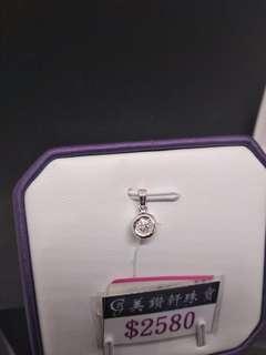 18k白金鑲鑽石吊咀,耳環,(吊咀1D0.11cts.$1880.耳環2D0.12cts$2480)壹套買特價$3880要現金,限賣壹套