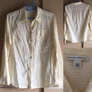 🚚 9成新BANANA REPUBLIC黃色條紋長袖襯衫#M肩寬40衣長70