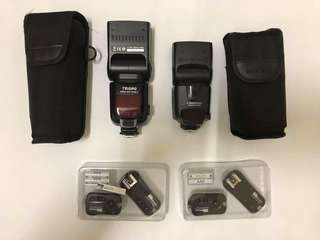Take all 2pcs flash & 2pcs trigger for canon