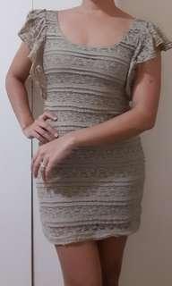 Maldita Women's Fitted Short Dress (Beige/Brown)