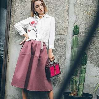 Pinkish winter wool skirt