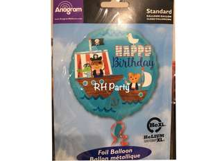 (18/6) include helium Happy birthday Pirate Boy theme foil balloon (sea animal)