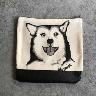 Husky Graphic Coin Pouch