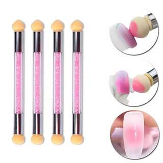 2018 1Sets Glitter Powder Picking Dotting Gradient Pen Brush + 4 Sponge Nail Art Tools Double-ended UV Gel diamond Painting Pen