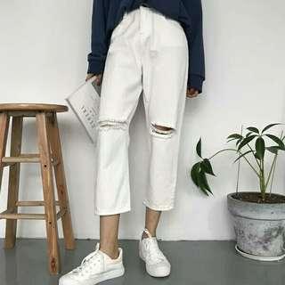 🚚 「全新」白色破洞寬褲