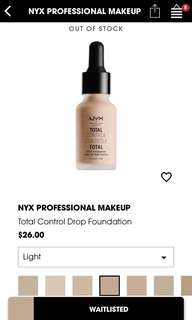 NYX Total Control Drop Foundation (Light)