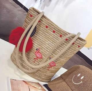 A002 Flamingo Embroidery Straw Shoulder Bag