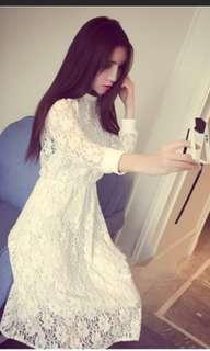 Korean white lace dress