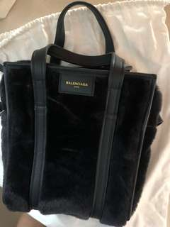 Balenciaga fur 2 way plain totes black